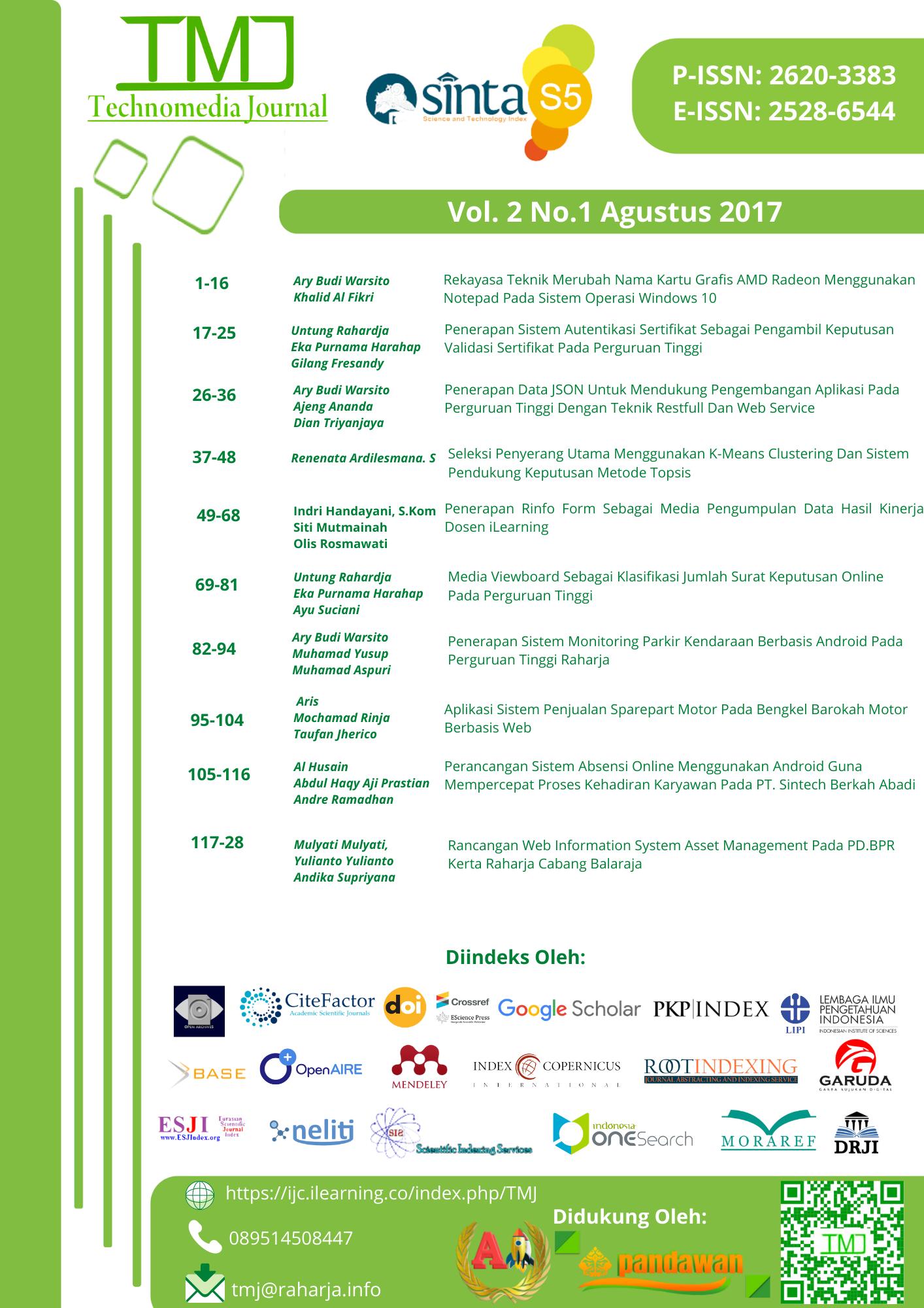 Lihat Vol 2 No 1 Agustus (2017): Technomedia Journal