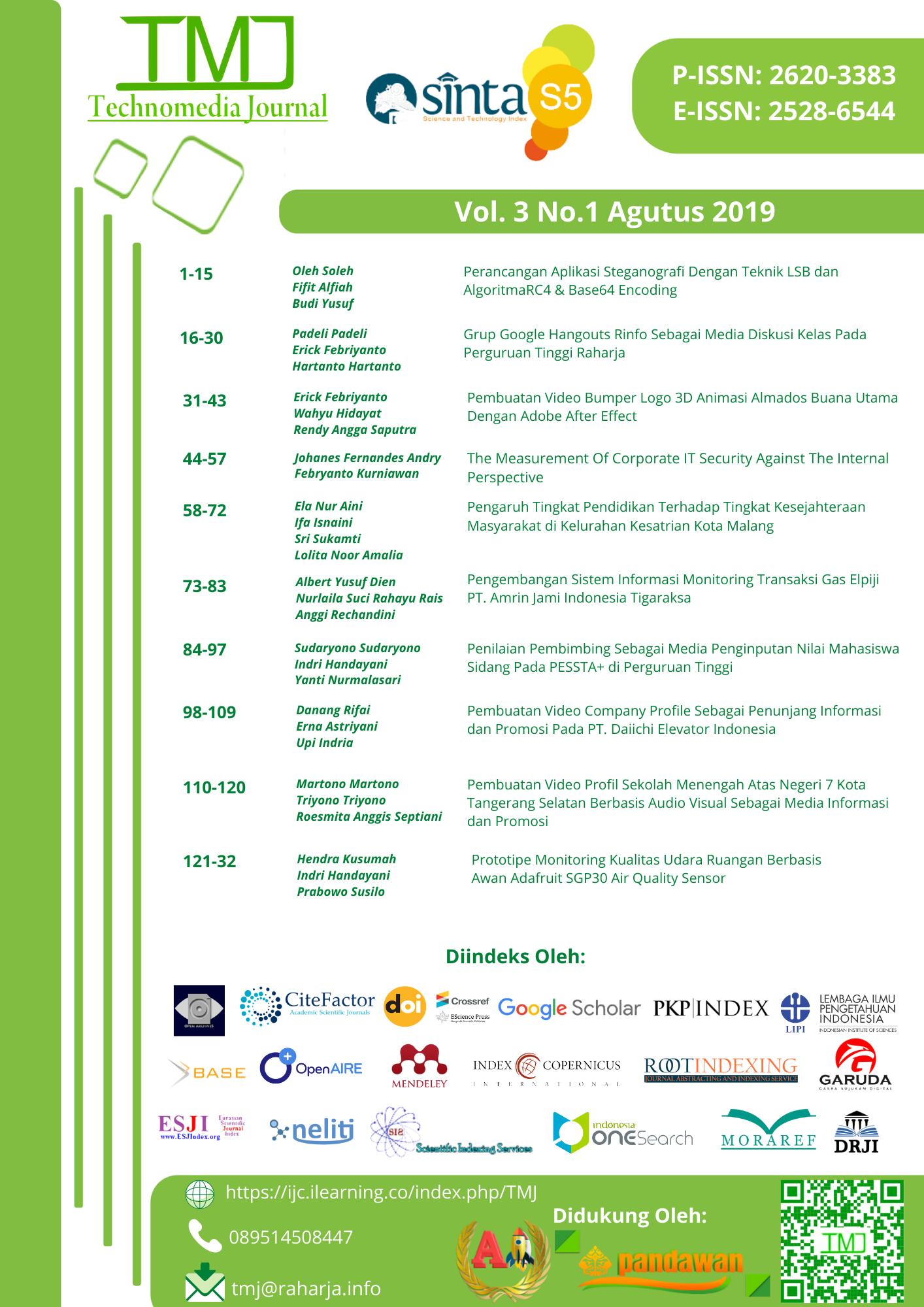 Lihat Vol 3 No 1 Agustus (2018): Technomedia Journal