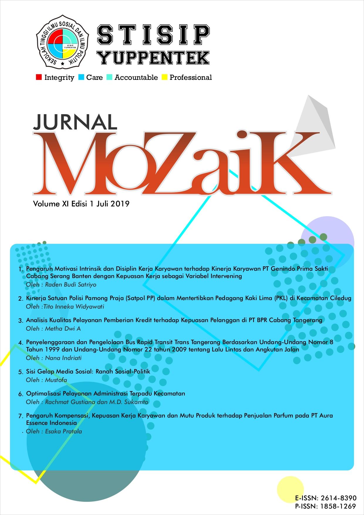 Lihat Vol 11 No 1 (2019): Jurnal Mozaik
