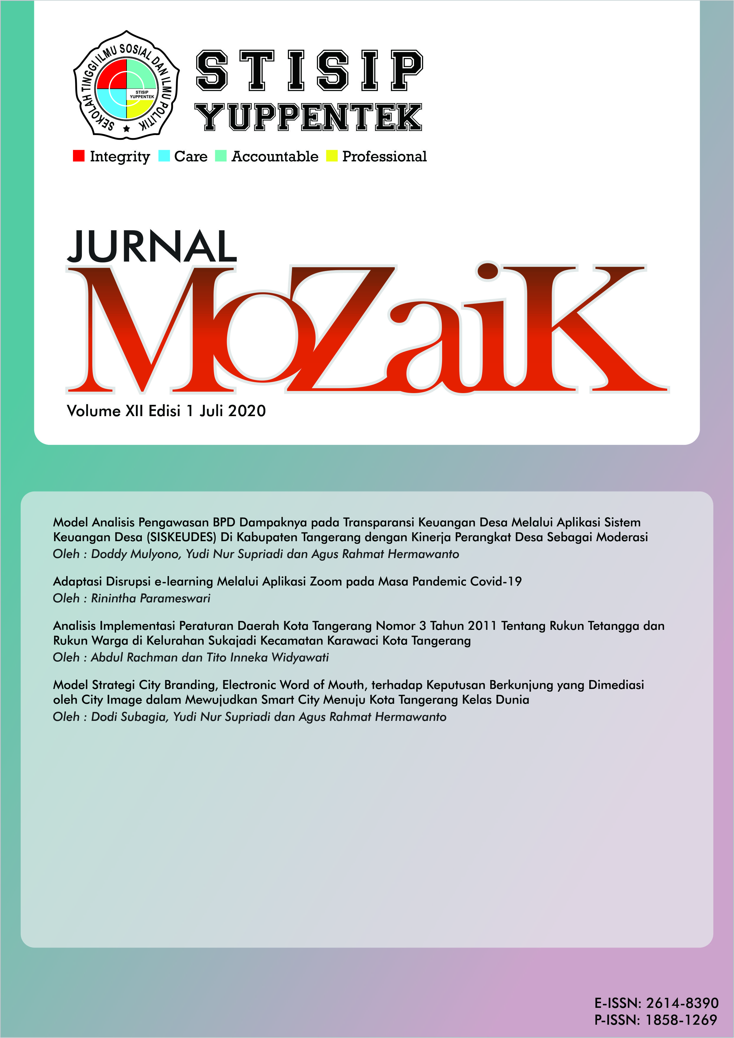 Lihat Vol 12 No 1 (2020): Jurnal Mozaik