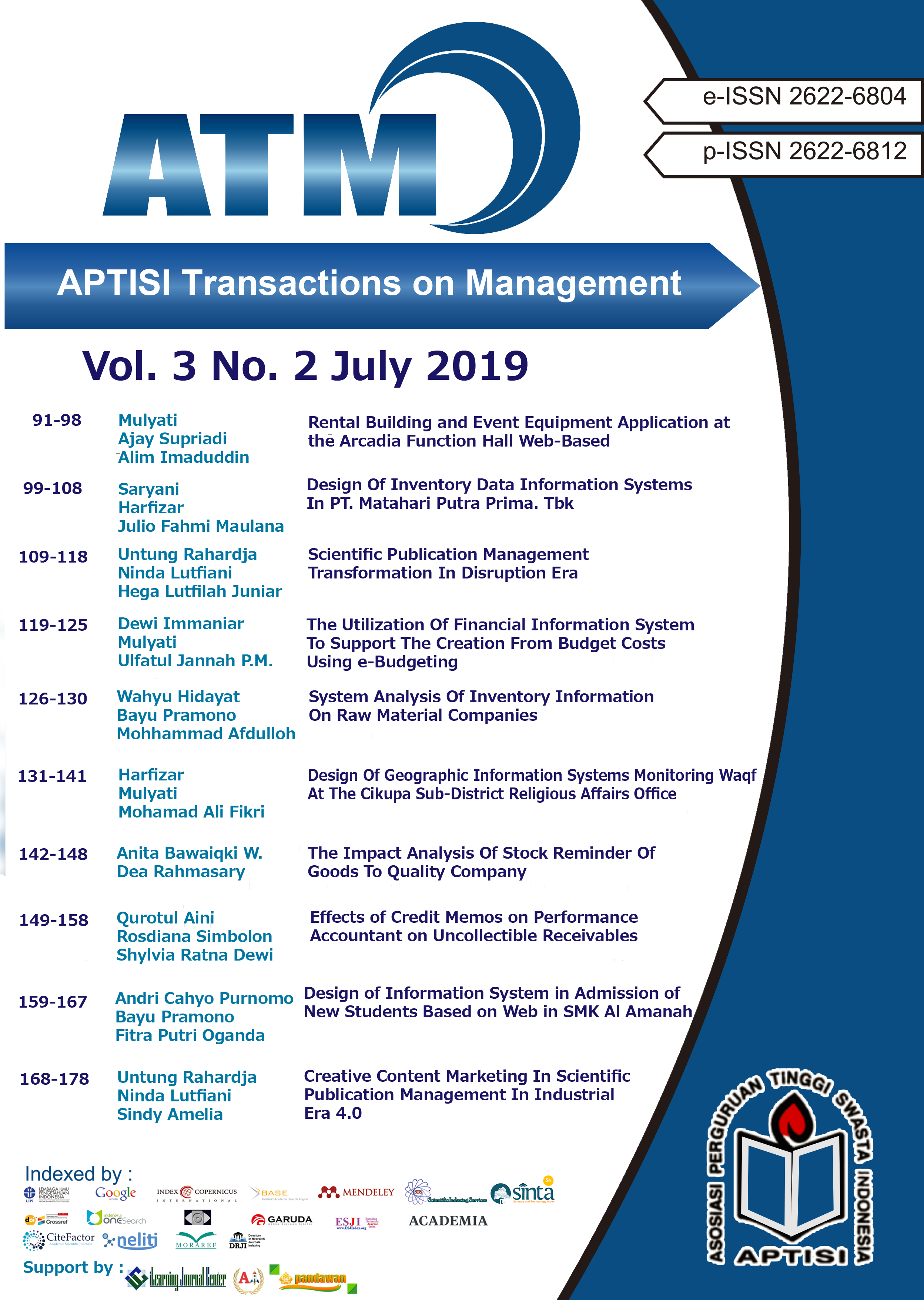 View Vol. 3 No. 2 (2019): ATM (APTISI Transactions on Management: July)