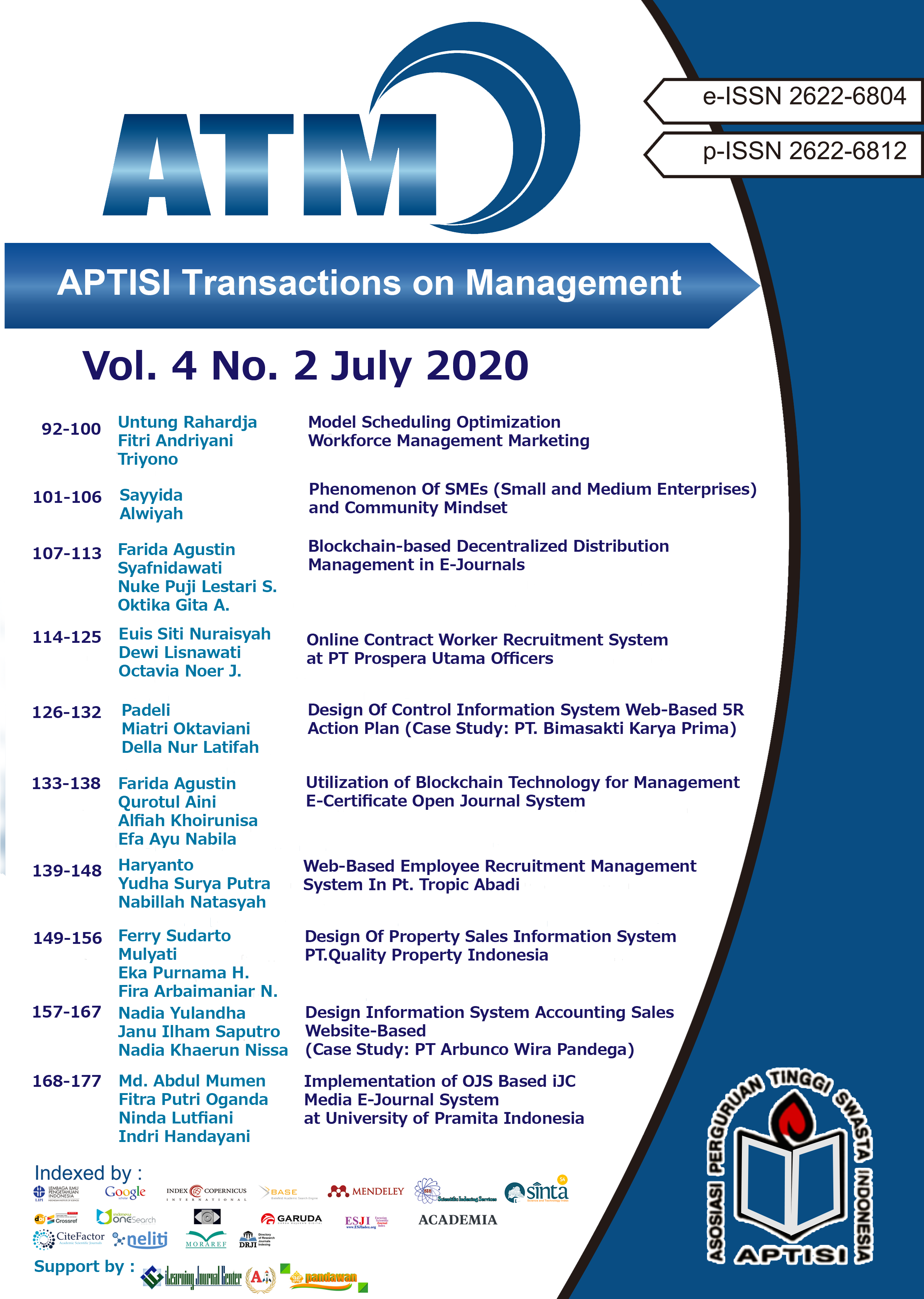 View Vol. 4 No. 2 (2020): ATM (APTISI Transactions on Management: July)