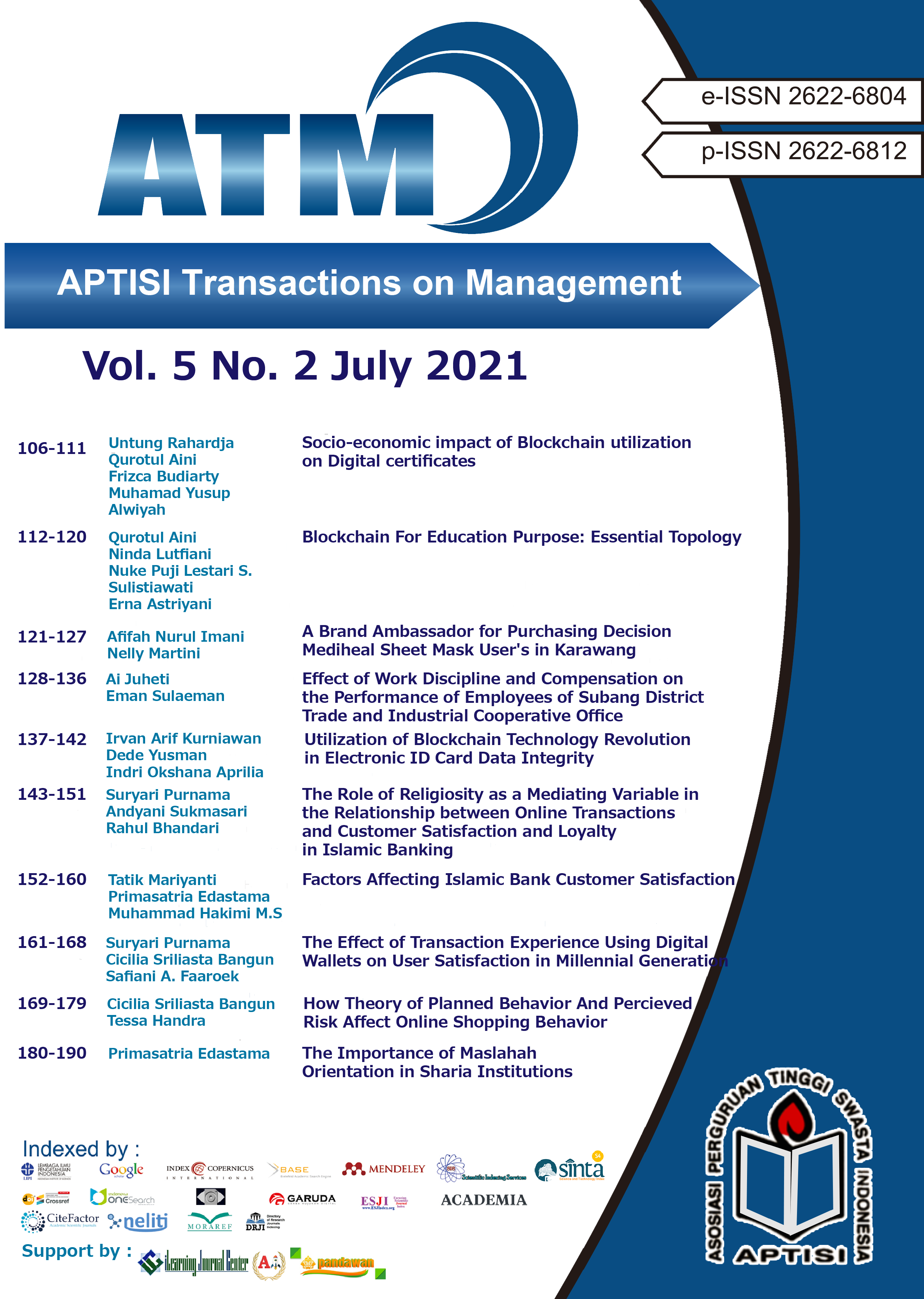 View Vol. 5 No. 2 (2021): ATM (APTISI Transactions on Management: July)